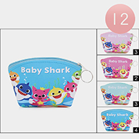 12PCS - Baby Shark Coin Purses / Key Chain Bags