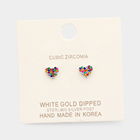White Gold Dipped CZ Colorful Stone Heart Stud Earrings