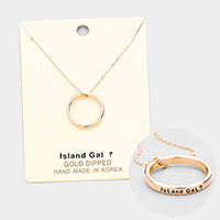 'Island Gal' Gold Dipped Ring Pendant Necklace