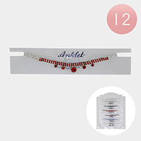 12PCS - Crystal Rhinestone Pave Anklets