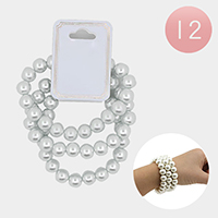 12 Set Of 3 Pcs - Pearl Stretch Bracelets