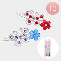 12 Set Of 2 - Round Crystal Rhinestone Butterfly Flower Barrettes