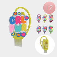 12PCS - Hand Sanitizer With  Silicone 'Girl power' Holders