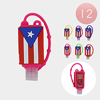 12PCS - Hand Sanitizer With Colorful Silicone Flag Holders