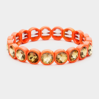 Crystal Stone Resin Bezel Trim Stretch Bracelet