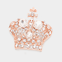 Pave Glass Crystal Crown Pin Brooch