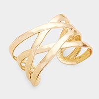 Metal Crossed Cage Cuff Bracelet