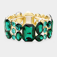 Emerald Cut Crystal Accented Stretch Evening Bracelet