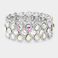 Teardrop Glass Crystal Pave Stretch Evening Bracelet