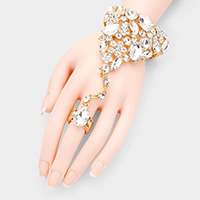 Teardrop Crystal Rhinestone Pave Hand Chain Evening Bracelet