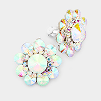 Round Crystal Flower Clip On Earrings