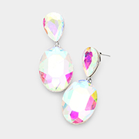 Glass Crystal Dangle Evening Earrings