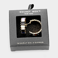 Secret Box _ 14k Gold Dipped Colorful Stone Accented Hoop Earrings