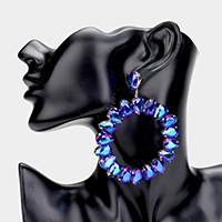 Teardrop Glass Crystal Open Circle Evening Earrings