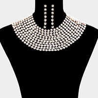 Glass Crystal Statement Bib Evening Necklace