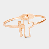 Cross Metal Hinged Bracelet