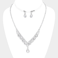 Teardrop Crystal Rhinestone Pave Drop Necklace