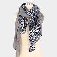 LEOPARD PRINT H&H PLEATED SCARF