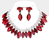 Glass Crystal Marquise Rhinestone Collar Evening Necklace