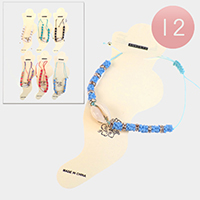 12PCS - Puka Shell Colorful Beaded Anklets