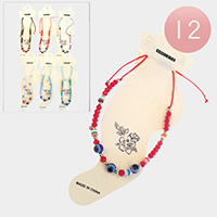 12PCS - Evil Eye Colorful Beaded Anklets