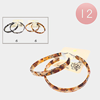 12PCS - Leopard Pattern Celluloid Acetate Hoop Earrings