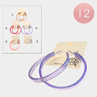 12PCS - Clear Celluloid Acetate Hoop Earrings