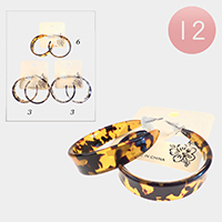 12PCS - Leopard Celluloid Acetate Hoop Earrings