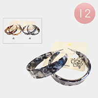 12PCS - Celluloid Acetate Hoop Earrings