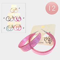 12PCS - Glitter Celluloid Acetate Hoop Earrings