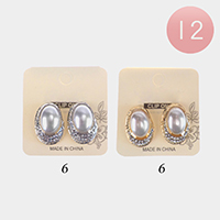 12PCS - Pearl Rhinestone Statement Clip On Earrings