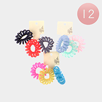 12 Set Of 3 - Colorful Stretchable Hair Coils Bands