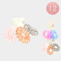 12 Set Of 3 - Clear Colorful Stretchable Hair Coils Bands