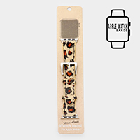 Leopard Faux Leather Apple Watch Stretch Strap Band