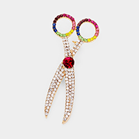 Rhinestone Pave Scissors Pin Brooch