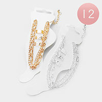 12PCS - Chain Link Layered Anklet & 3Pcs Toe Rings
