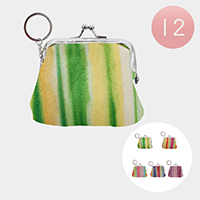 12PCS - Glitter Stripe Coin Purse W/Key Chains