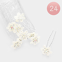 24PCS - Rhinestone Pave Pearl Flower Hair Comb Pins