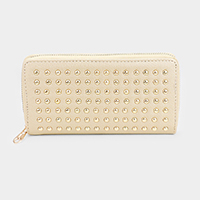 Faux Leather Stud Zipper Wallet