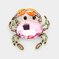 Glass Crystal Rhinestone Pave Crab Brooch