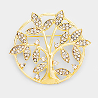 Rhinestone Pave Tree Of Life Brooch