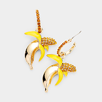 Rhinestone Pave Banana Pin Catch Earrings