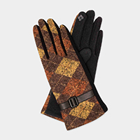 Argyle Pattern With Buckle Accent Smart Gloves