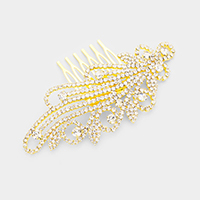 Round Crystal Rhinestone Pave Leaves Hair Comb