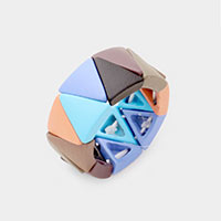 Triangle Lego Color Block Stretch Ring