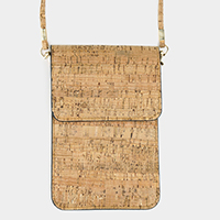 Cork Faux Leather Touch View Cell Phone Crossbody Bag