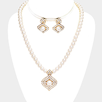 Embellished Pearl Rhinestone Pave Necklace