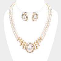 Embellished Teardrop Pearl Rhinestone Pave Necklace