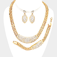3PCS - Snake Chain Rhinestone Antique Pave Necklace Jewelry Set