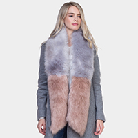 Two Tone Long Fur Scarf